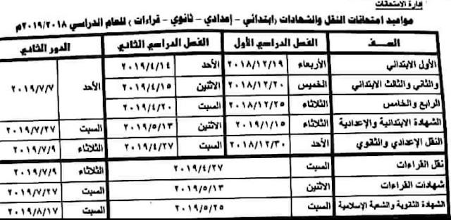 بوابة الازهر : جدول مواعيد امتحانات النقل والشهادات ابتدائى واعدادى وثانوى وقراءات 2018 / 2019
