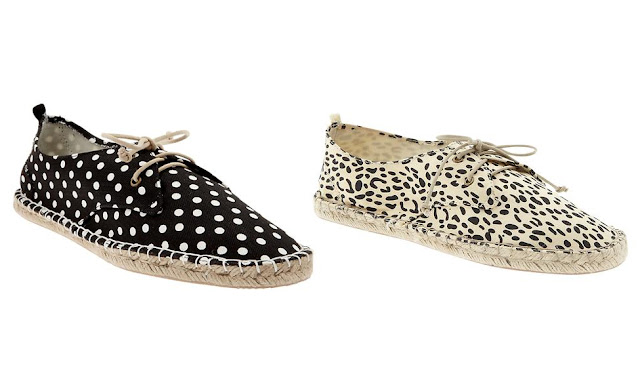 polka dot and leopard print espadrilles