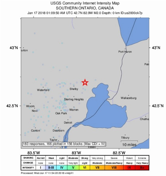 Michigan Meteor Earthquake Map 2018