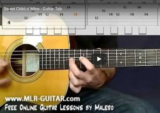 Belajar Lagu Sweet Child o' Mine - Guitar Tab