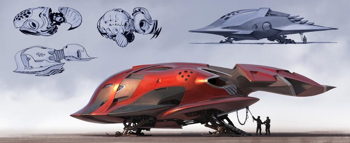 Dagger Shaped Starship Concept Art