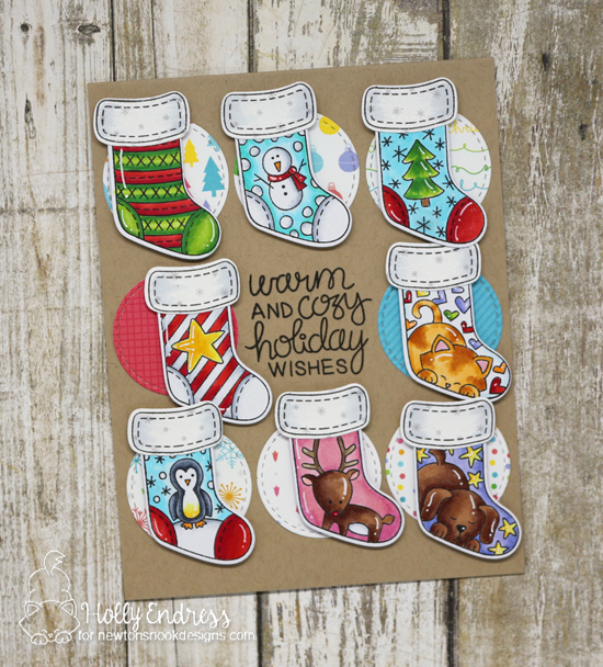 Christmas Stocking Card by Holly Endress | Holiday Stockings Stamp Set and Stylish Stockings Die set by Newton's Nook Designs #newtonsnook #handmade
