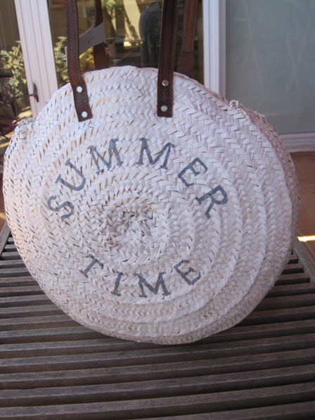 Bolso redondo summer time fibra natural asas piel