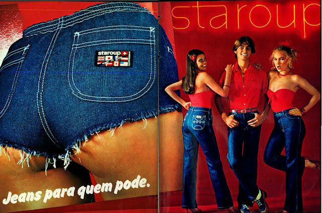 Jeans Staroup apresentando uma ousada campanha voltada aos jovens no final do anos 70.