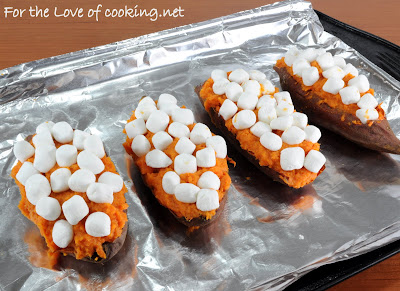 Twice Baked Maple & Cinnamon Yams with Mini Marshmallows
