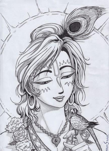 Lord krishna pencil sketch image