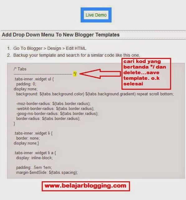 Cara Buat Menu Tab/Bar Untuk Blogger
