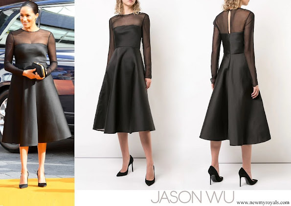 Meghan Markle wore Jason Wu Mesh Panel Flared Dress