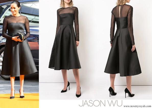 Meghan Markle wore Jason Wu Mesh Panel Flared Dress