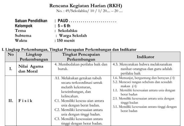 RKH Tema Sekolahku Kurikulum 2013 Revisi TK B