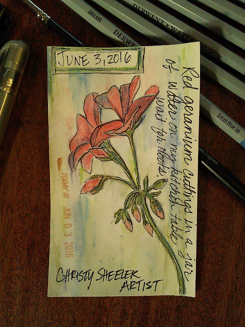 Card #11, Red geranium flowers, watercolor pencil, stamps, inks on gesso coated index card, Christy Sheeler Artist, ICAD 2016, Index Card A Day