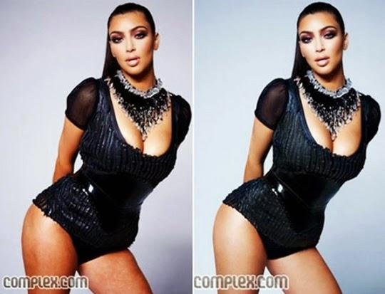 hasil photosop Kim Kadarshian untuk Complex Magazine