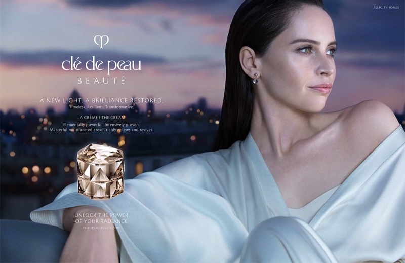 Felicity Jones shows off her flawless skin in Clé de Peau Beauté campaign