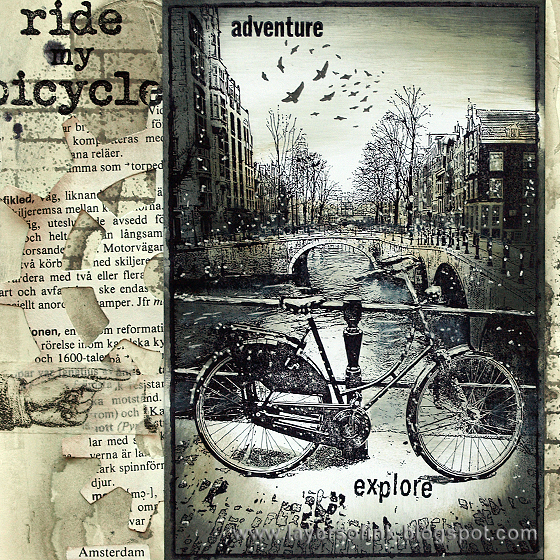 My art journal instead i made a page about bikes because the stamps were city stamps and i was colouring them in black and white i gave the page a
