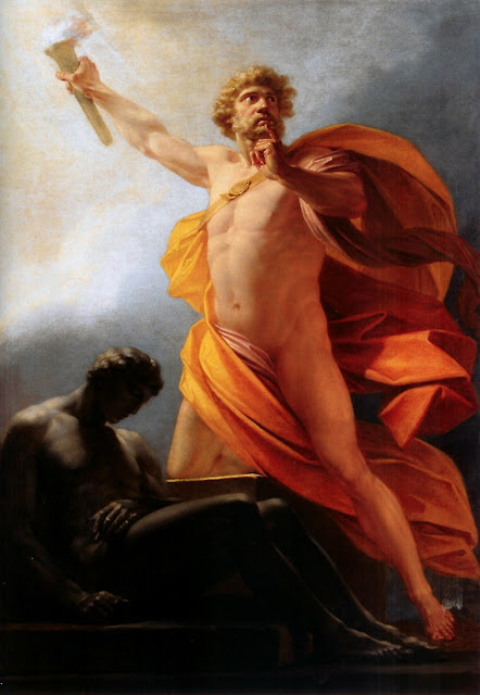 Prometheus brings fire to mankind Heinrich Fuger 1817