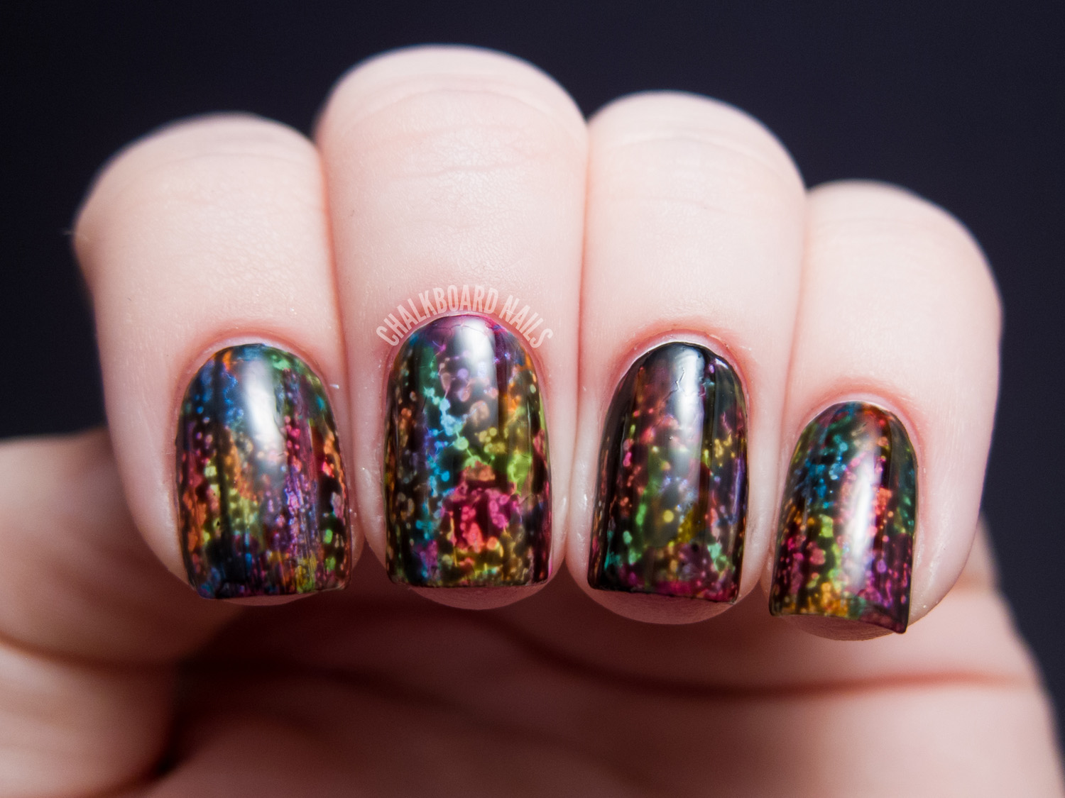 Opi Black Spotted And Neon Abstract Brush Strokes Chalkboard Nails Nail Art Blog