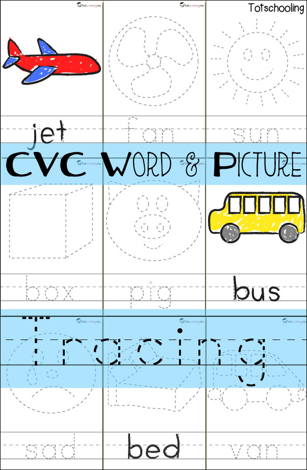 Cvc Word Picture Tracing Cards on blank handwriting worksheets for kindergarten