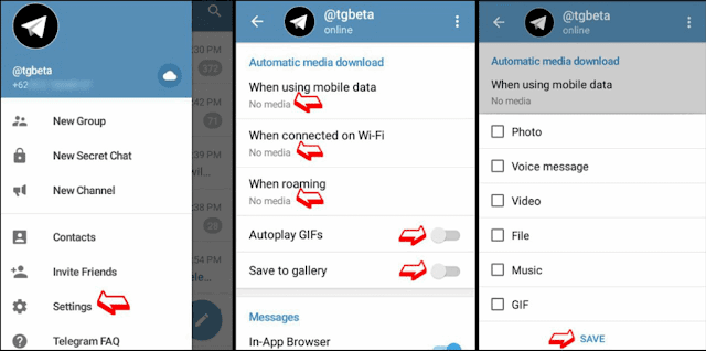 mematikan autodownload telegram