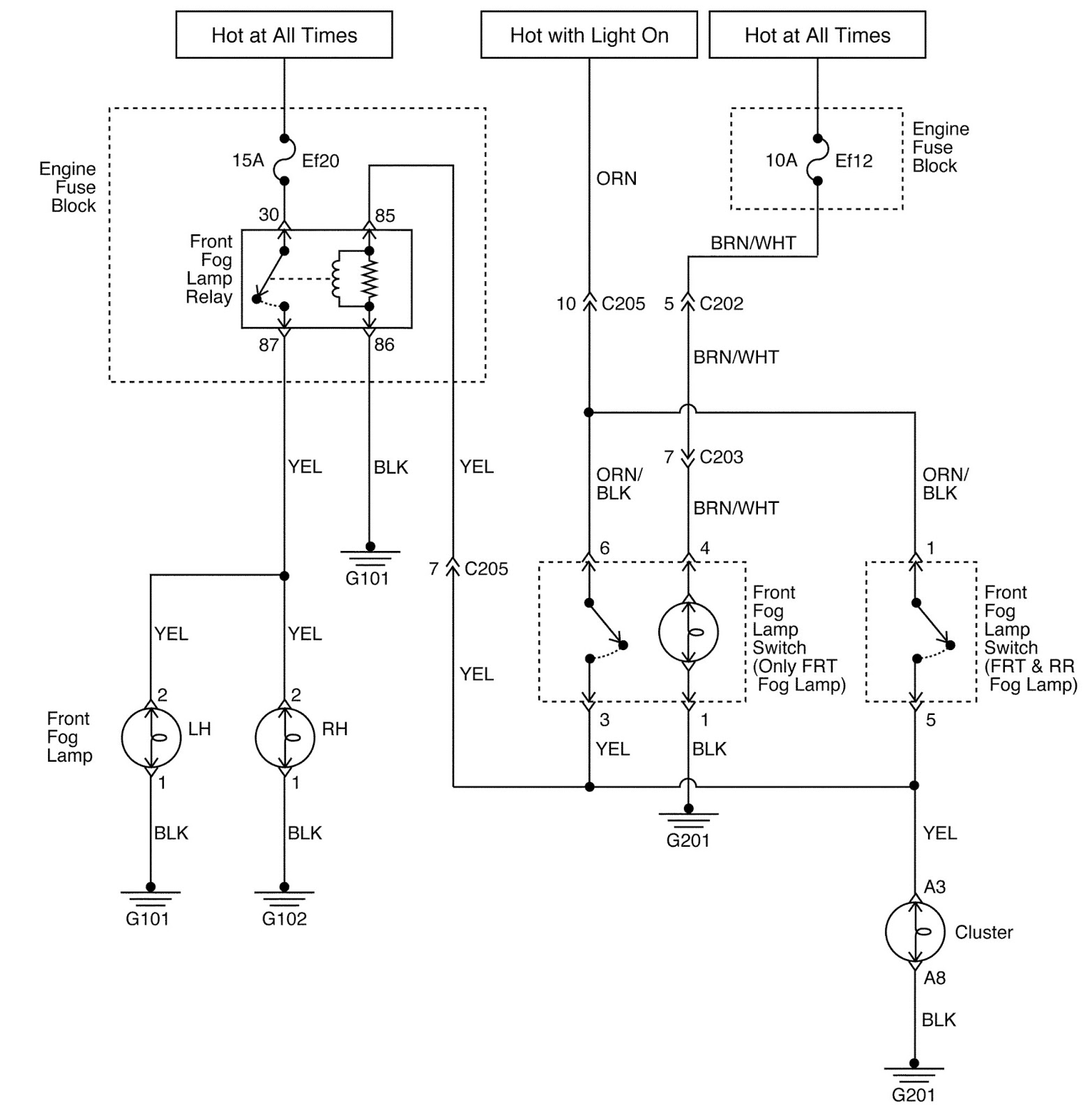 Daewoo Matiz Wiring Diagram: DAEWOO MATIZ CAR - LIGHTING SYSTEMS -  SCHEMATIC AND ROUTING ,