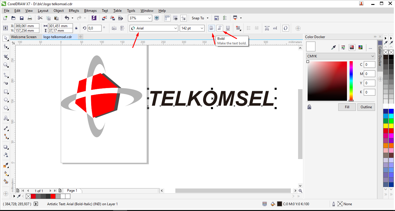 tutorial membuat logo telkomsel dengan coreldraw am blog