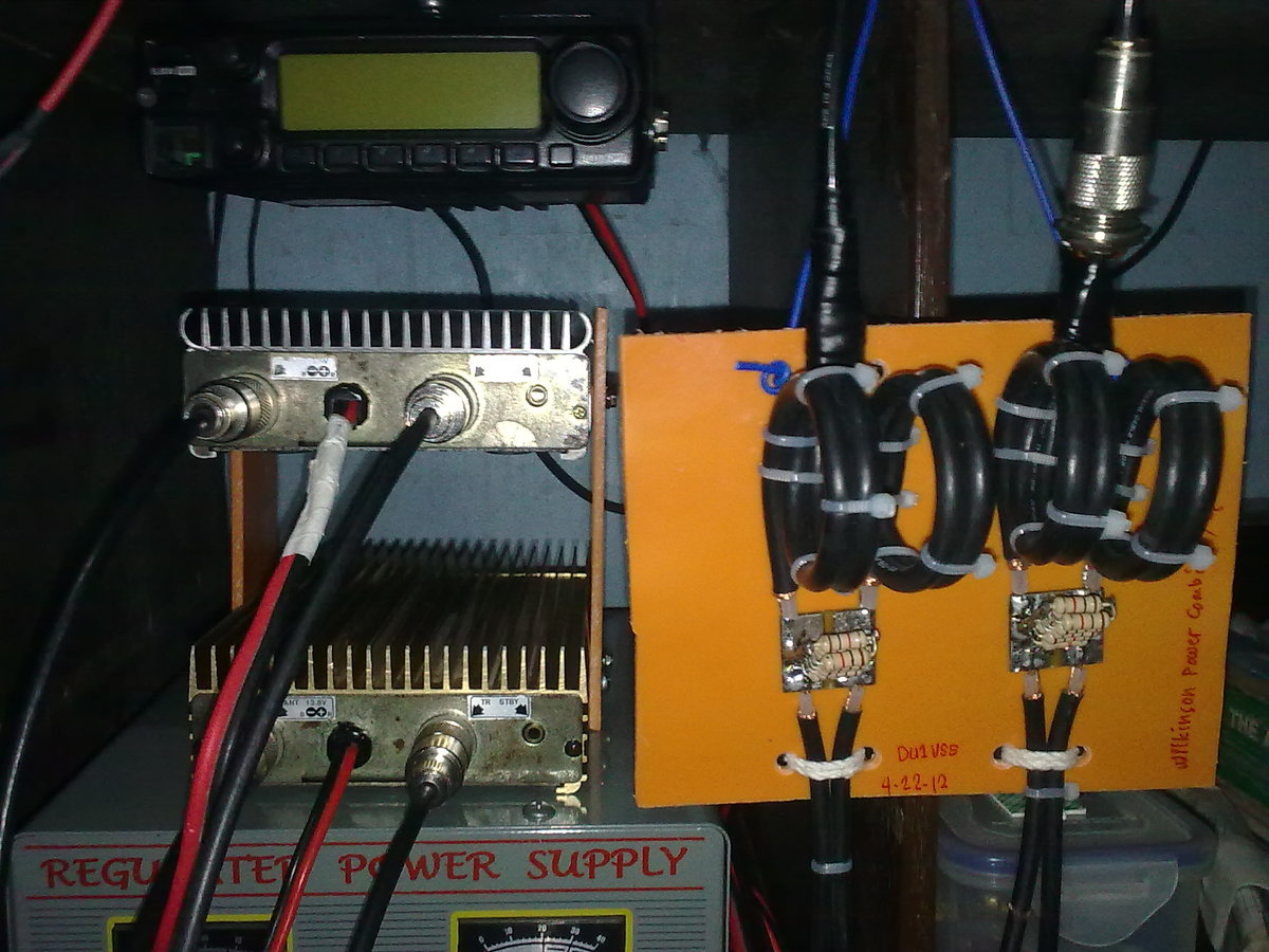 Du1vss Home Brews Wilkinson Power Combiner Splitter For Vhf Coax Wiring Diagram The Input Drive Of 5 Watts I Was Able To Measure 135w Output From Network Please Also Observe 100 Ohm Resistor At