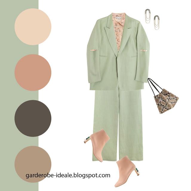 Пастельный зеленый костюм с розовой блузкой