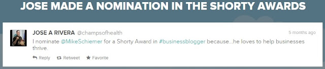 mike schiemer shorty awards finalist tweet