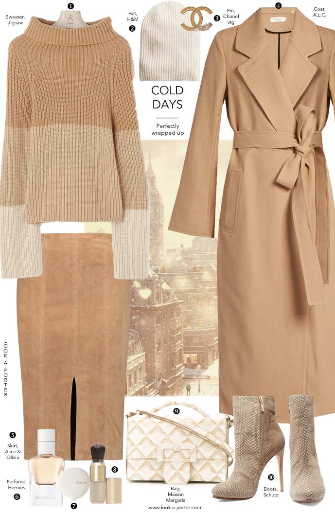 Camel for winter days with a beautiful camel coat, suede skirt and oversized chunky sweater styled with Maison Margiela, H&M, Chanel, ALC & Hermes for www.look-a-porter.com fashion blog