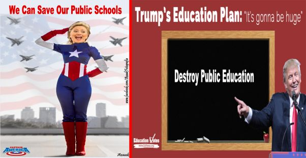 Image result for big education ape Clinton and Trump on Education