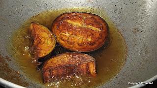 Bengali brinjal fry, aubergine fry
