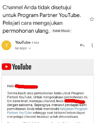Pemberitahuan Penolakan Monetize Channel YouTube