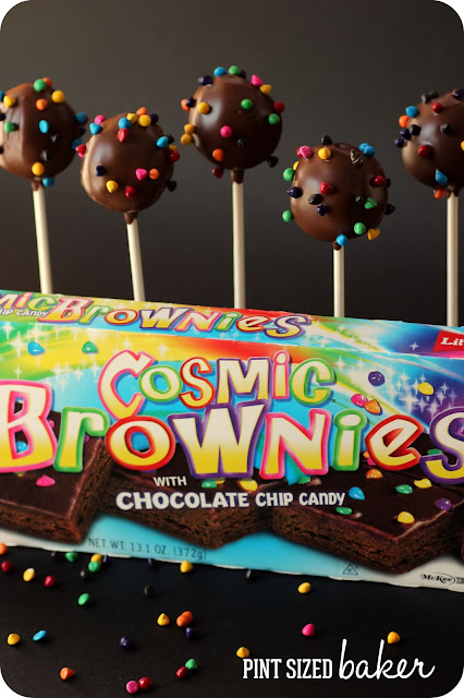 Who doesn't love Little Debbie Cosmic Brownies? Now you can take those brownies and turn them into Cosmic Brownie Pops! The kids will love this treat!