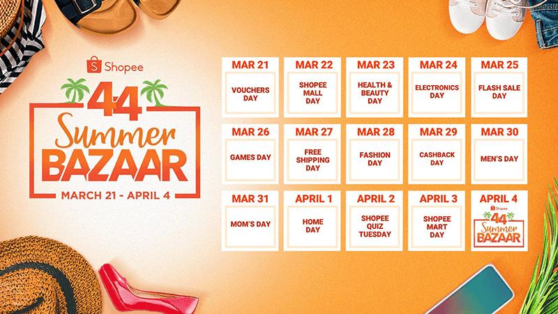 Here is the activity calendar for Shopee's 4.4 Summer Bazaar