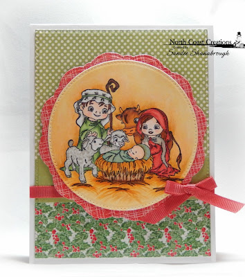 North Coast Creations Stamp: Jesus is Born, Our Daily Bread Designs Custom Dies: Pierced Circles, Doily, Pierced Rectangles, Our Daily Bread Designs Paper Collections:  Holly Jolly, Christmas Coordinating 2015