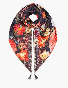 Accessorize Winter Rose Border Square Scarf