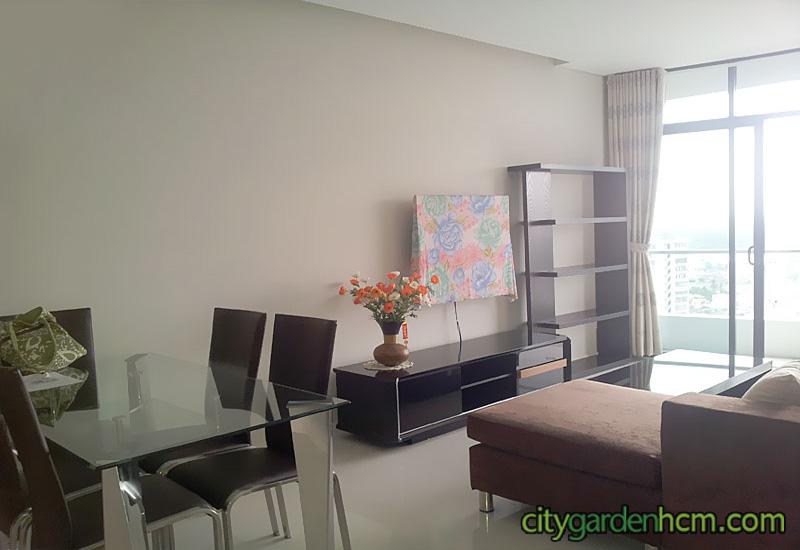 không gian phòng khách tại căn hộ City Garden cho thuê
