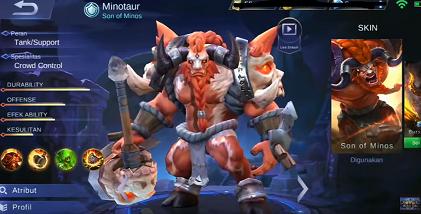 gambar Minotaur (Son of Minos) di mobil legend