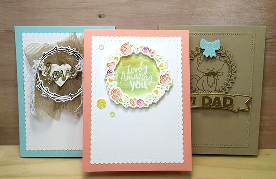 Trio of wreath cards by Naki Rager | Happy Little Thoughts Stamp set by Newton's Nook Designs #newtonsnook