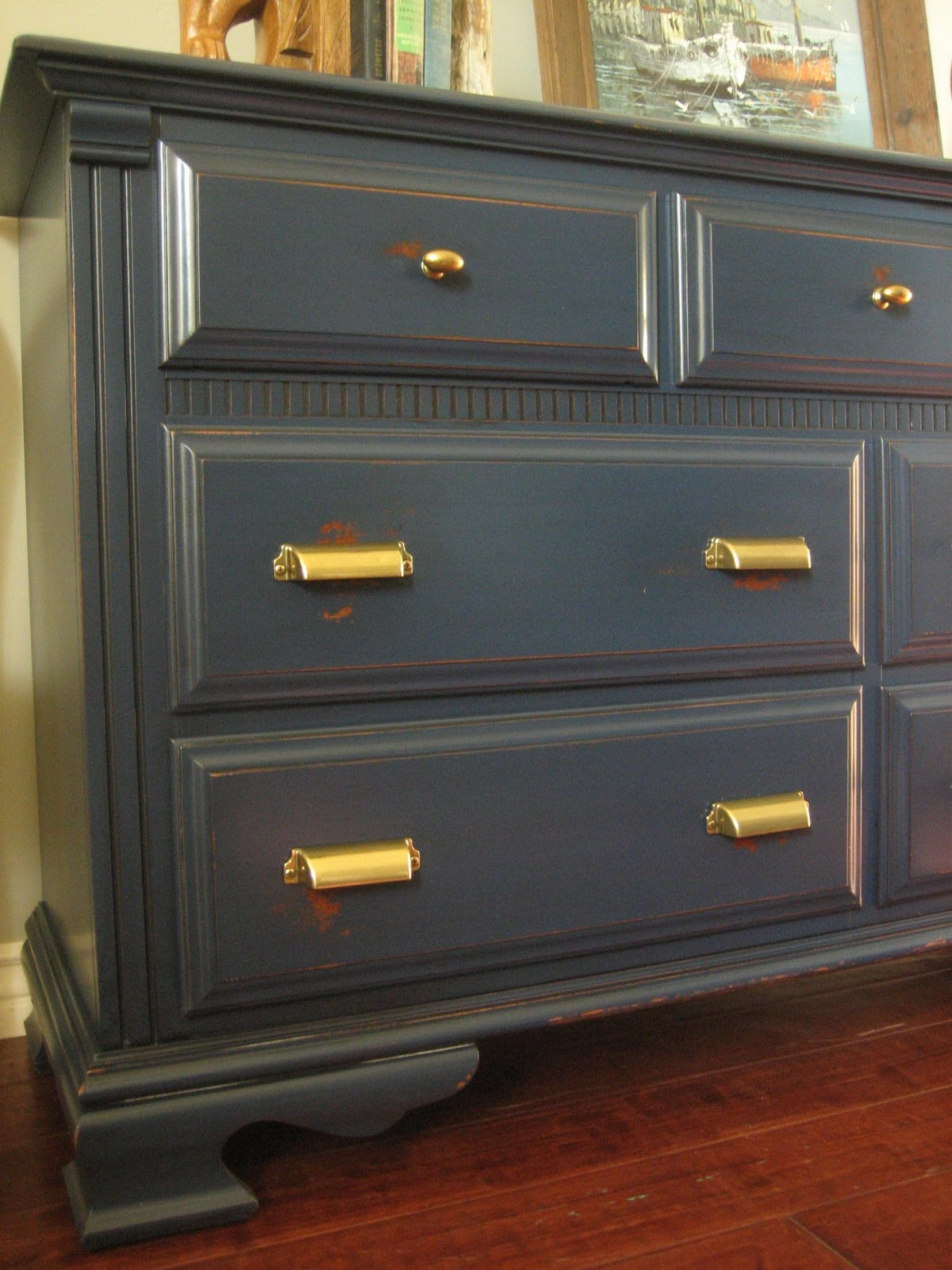 European Paint Finishes Navy Brass Dresser