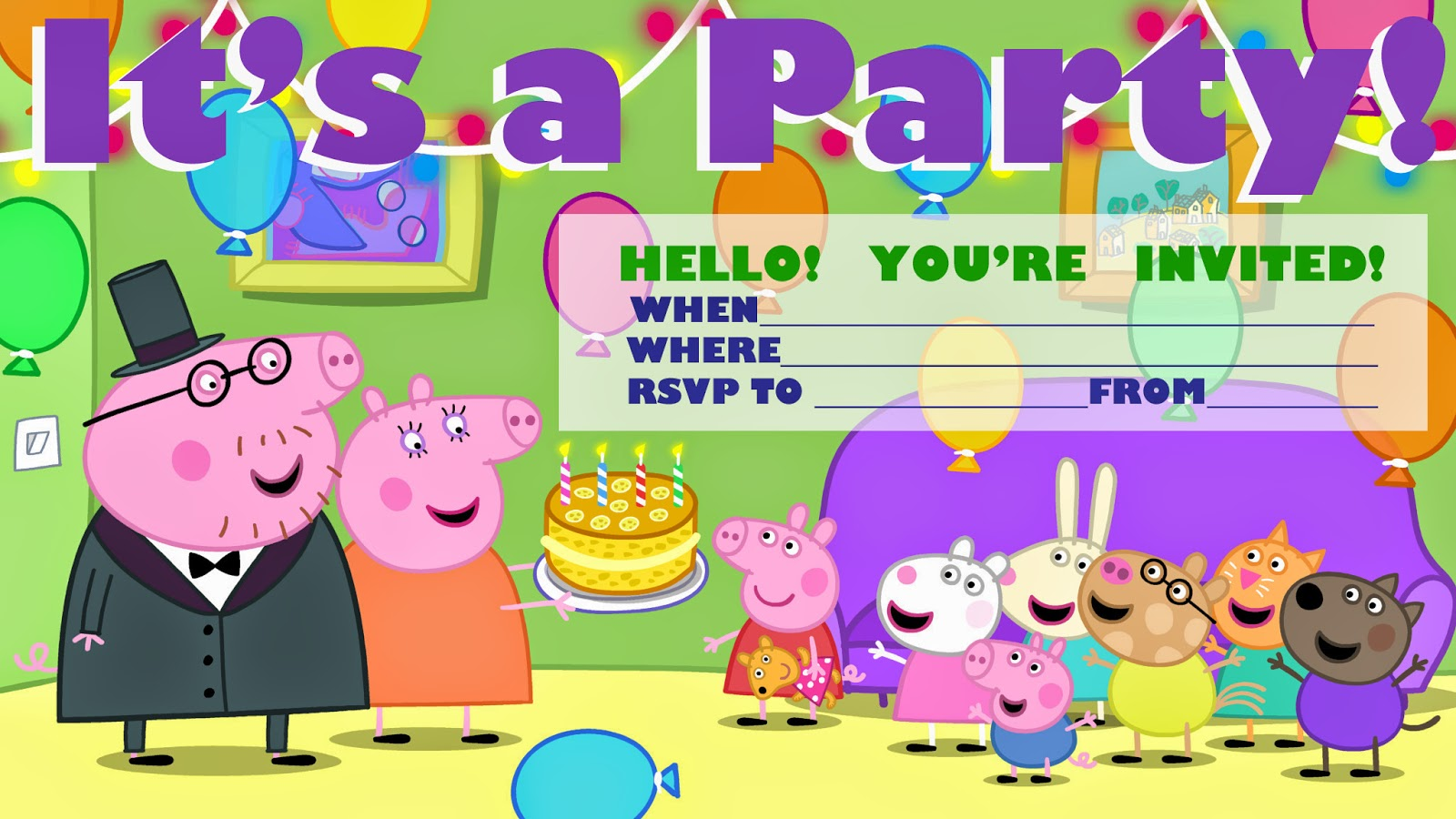 Terrible image with peppa pig printable invitations
