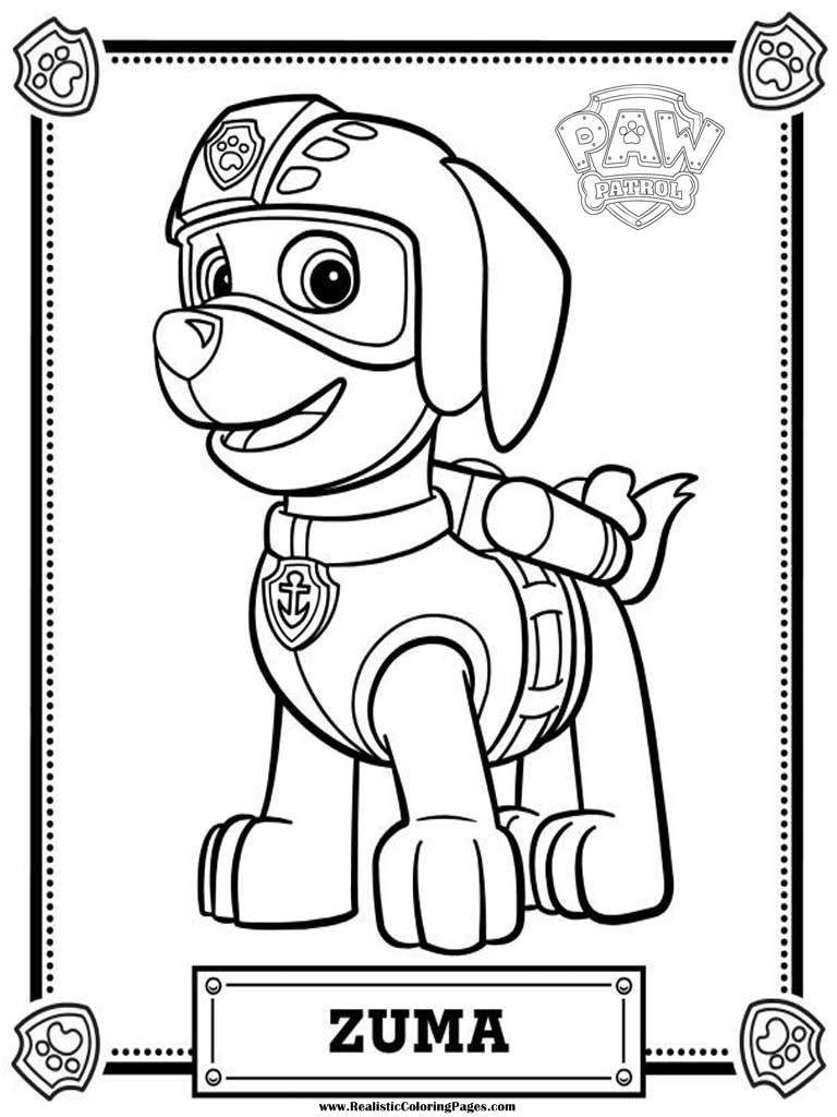 Paw Patrol Coloring In Pages : Zuma paw patrol free colouring pages