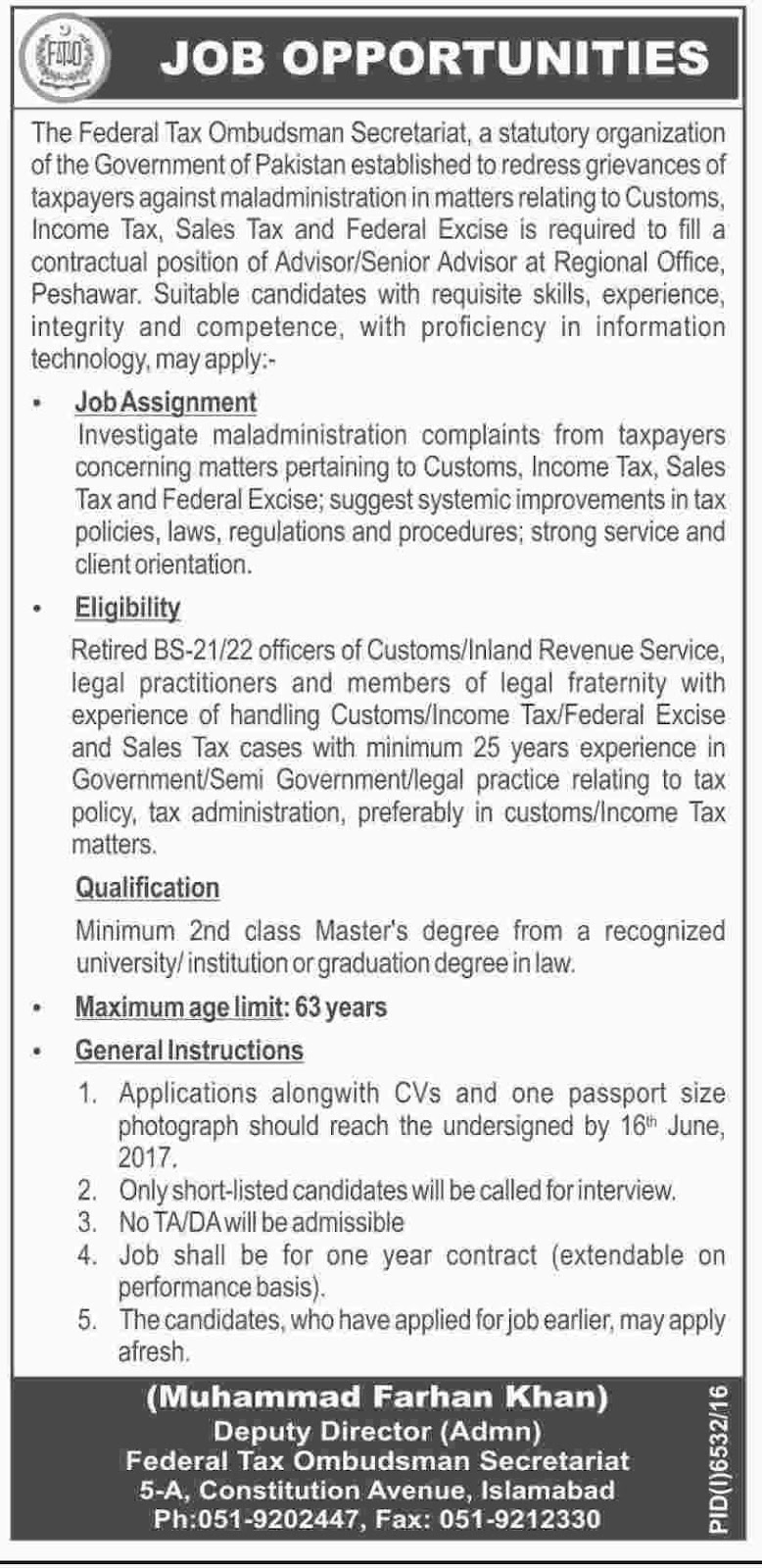 FTO Jobs In  Federal Tax Ombudsman Secretariat  2 June 2017