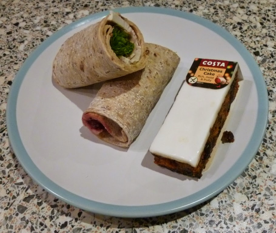 The gluten free Turkey, Bacon and Cranberry Wrap from Costa was good. As was the Christmas Cake slice. Both were well priced and in-line with other products for people on 'normal' diets. That's a nice touch