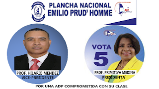ADP, Llama a magisterio a votar por Primitiva Medina e Hilario Méndez