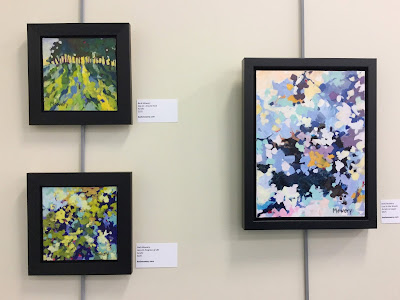 Three abstract landscape paintings by Barb Mowery.