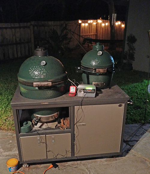 Cooking pork butts on a Big Green Egg using a Flame Boss controller and a Thermoworks ChefAlarm.