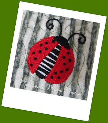 Close-up of Ladybug Mug Rug