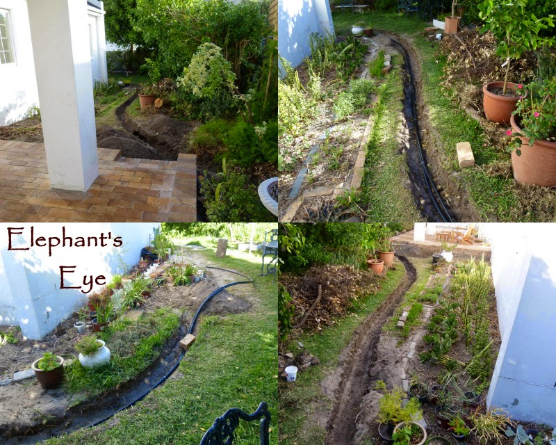 Trenches and pipes for the water feature