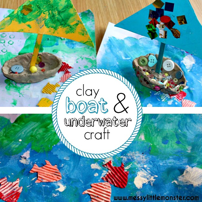 A clay sailing boat and underwater craft for kids. A summer activity for toddlers, preschoolers and older children thats combines process art and clay modelling.