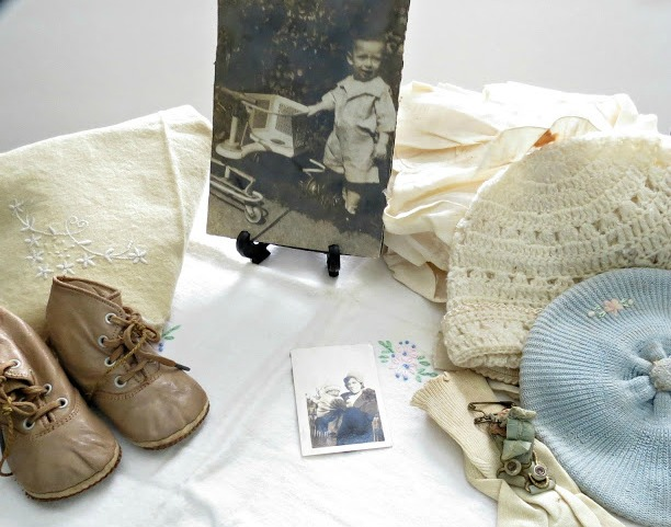 vintage baby clothes photos and shoes